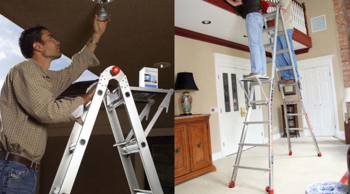 Tall Ceilings With A High Reach Ladder