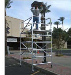 EZ Lift Scaffold have adjustable legs and locking casters.